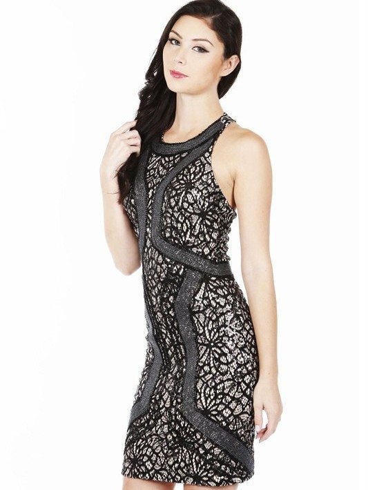 Sleeveless Halter Lace Embellished Dress