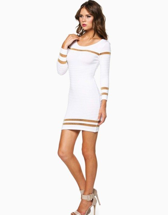 White Ribbed Shimmer Striped Short Sweater Dress