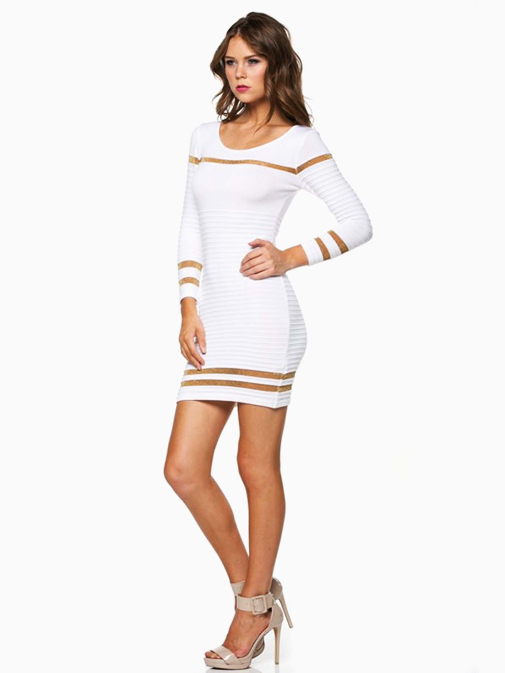 Hera Collection White Ribbed Shimmer Striped Short Sweater