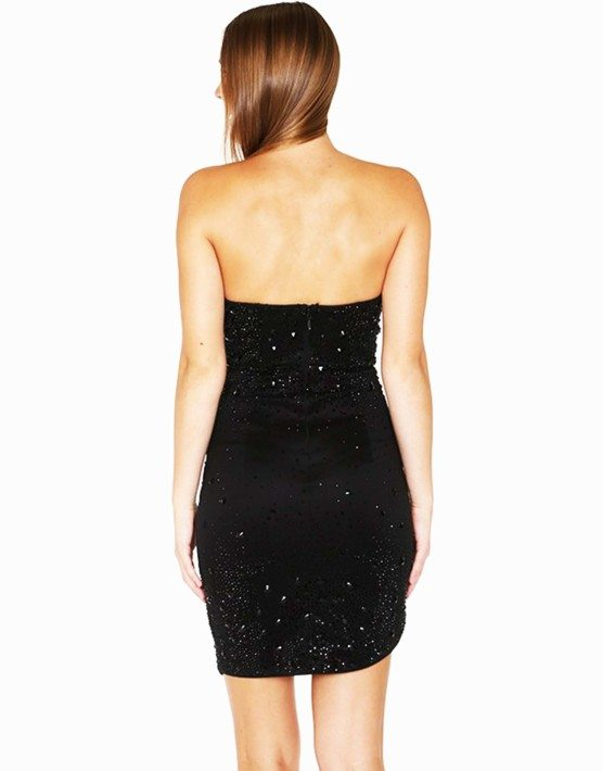 Black Deep Sweetheart Fitted Rhinestone Dress/Cocktail Dress