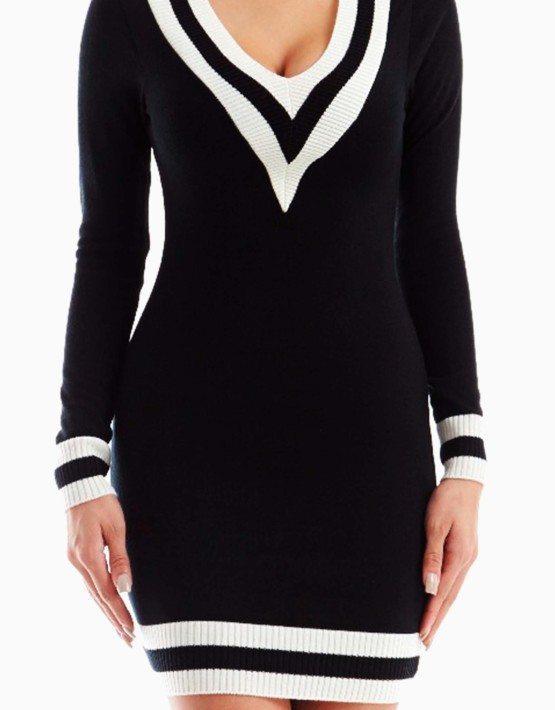 Black V Neckline Sweater Dress
