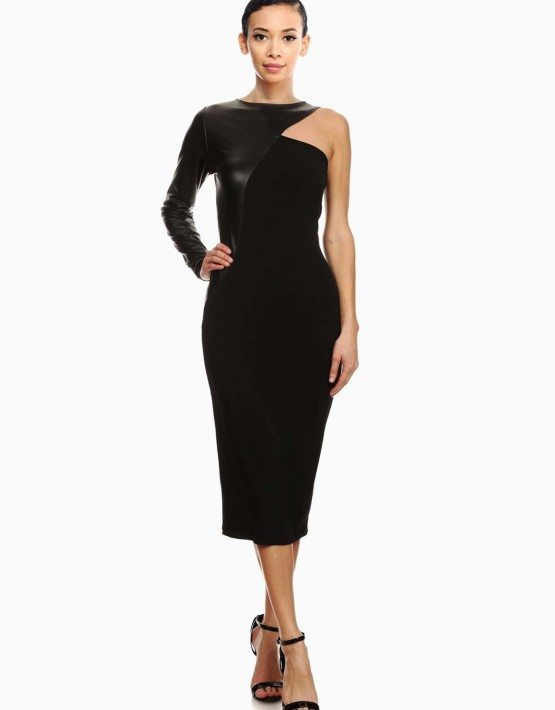 Black One Shoulder Solid Knit Sheath Dress