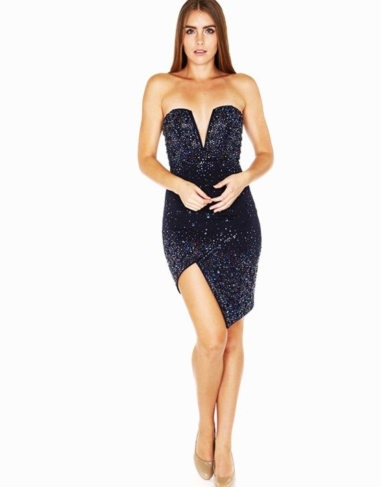 Navy Deep Sweetheart Fitted Rhinestone Dress/Cocktail Dress