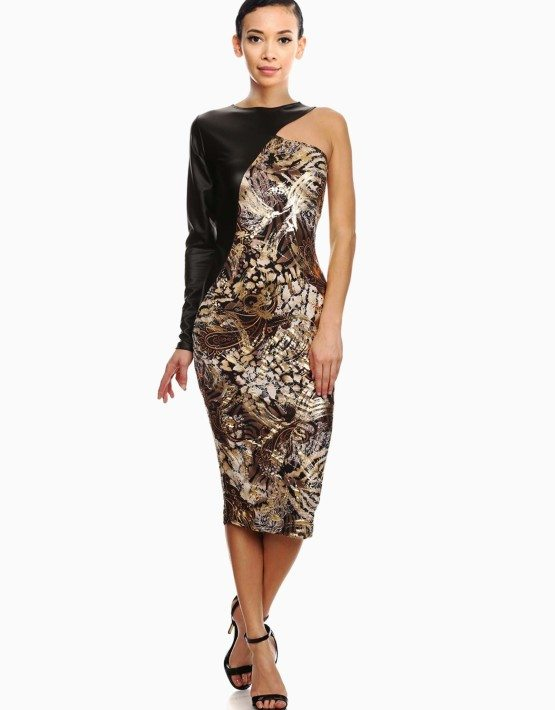 One Shoulder Metallic Abstract Print Sheath Dress