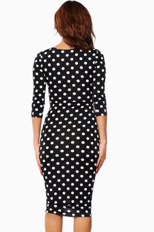 Polka Dot Slim Fit Midi Dress