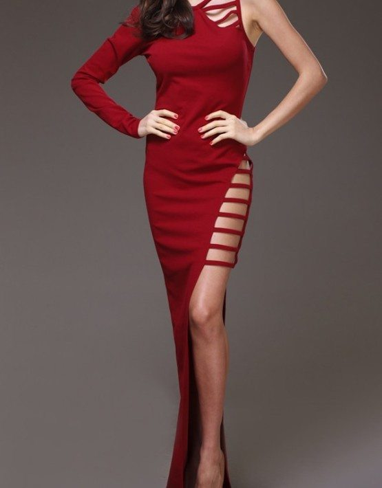Red High Slit Maxi Party Dress