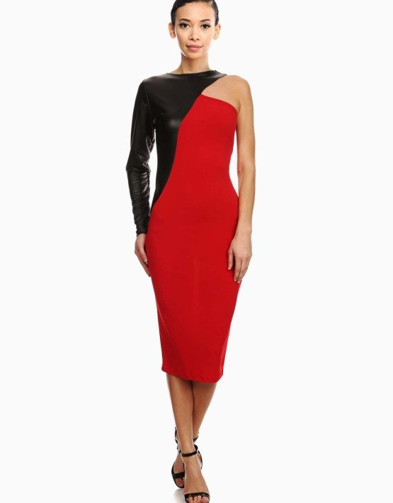 Red One Shoulder Solid Knit Sheath Dress