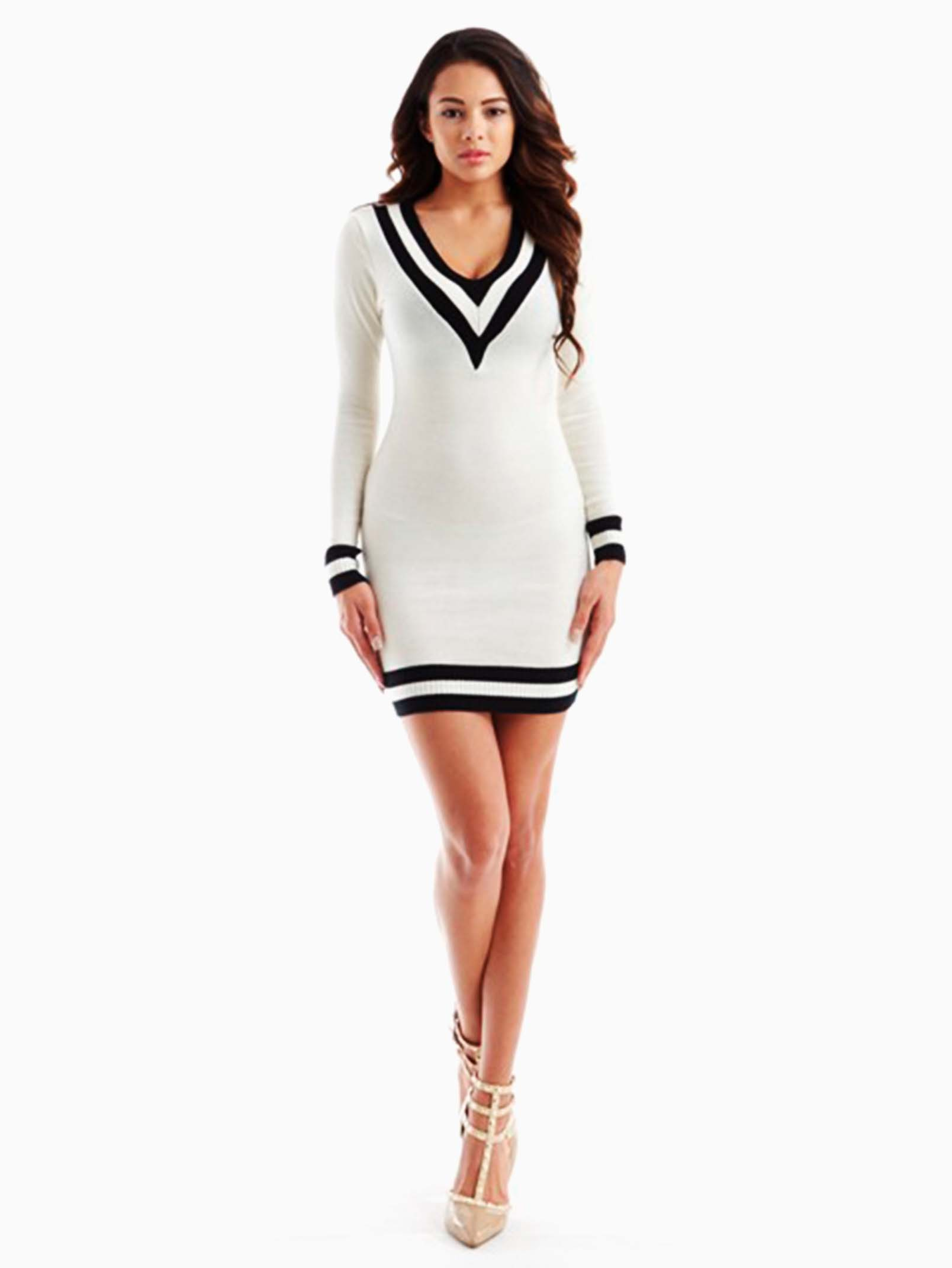 d71ea3b9a9c Hera Collection White V Neckline Sweater Dress