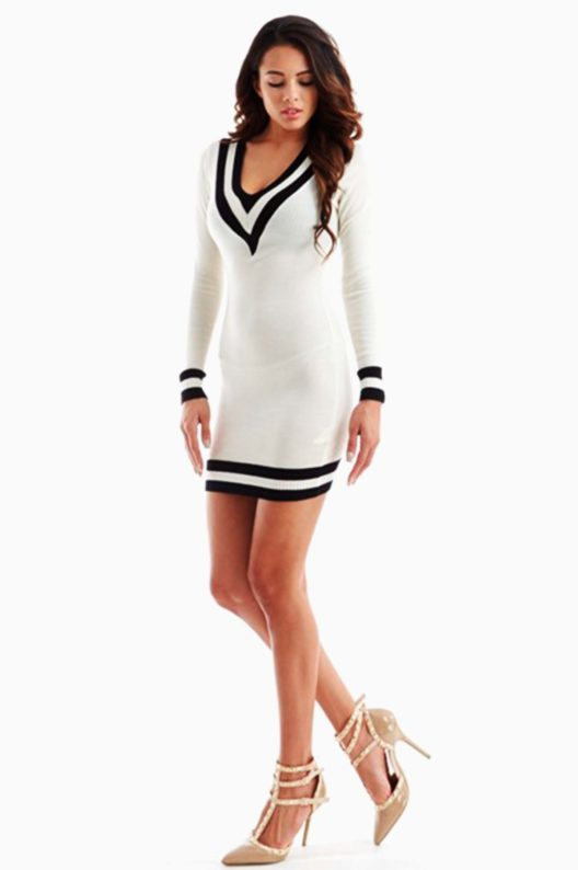 White V Neckline Sweater Dress