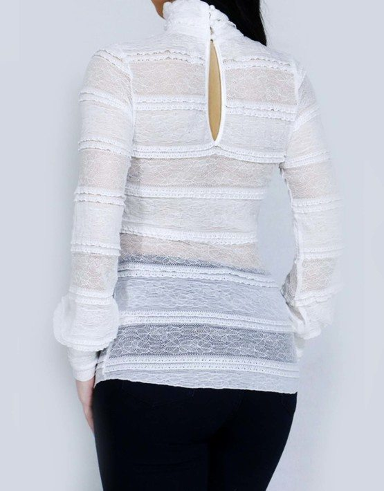 White Long Sleeve Mock Neck Lace Top