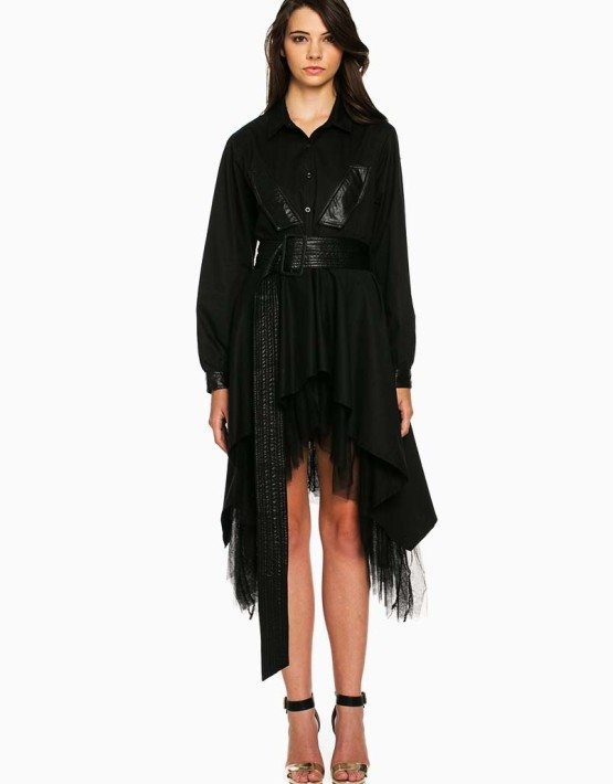 TOV Black Cascading Shirt Dress