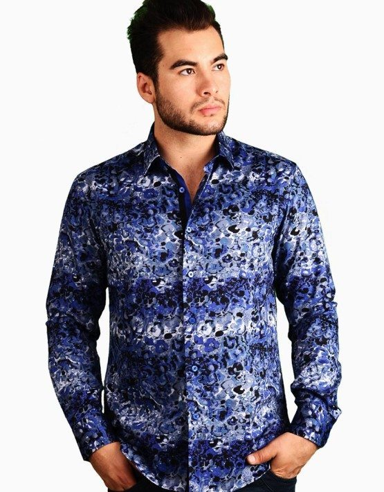 Blue Abstract Print Shirt