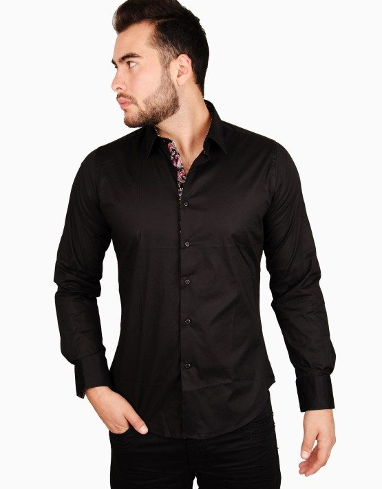 Black Spandex Button Front Shirt