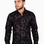CESARI Black Purple Flocked Paisley Button Front Shirt