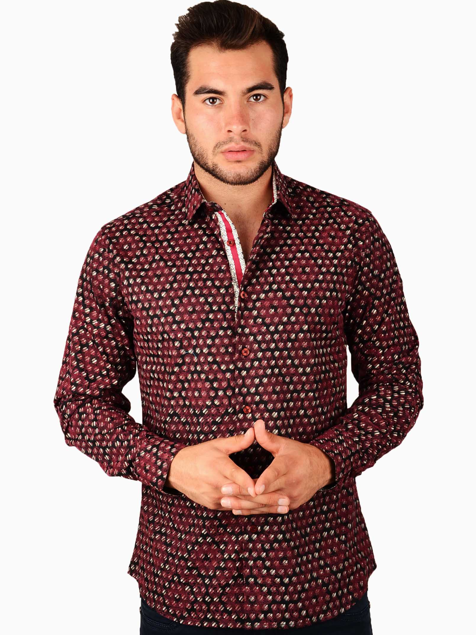 Cesari burgundy flocked pattern button front shirt for Custom pattern button down shirts