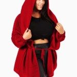 Burgundy Hooded Plus Size Jacket