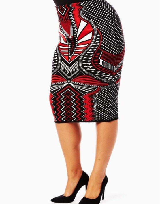 Red Printed Knit Pencil Skirt