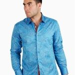 Light Blue Paisley Button Front Shirt