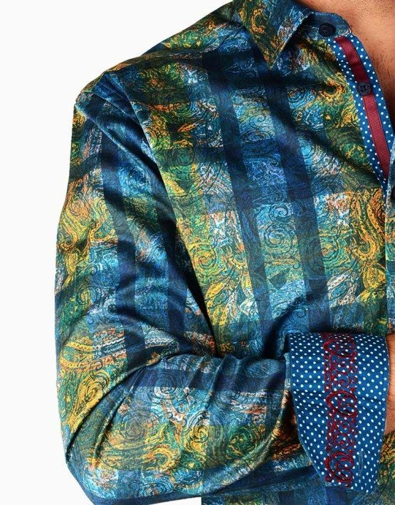 Blue Green Paisley Plaid Print Shirt