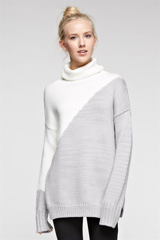 Six·Crisp·Days Heather Grey Oversized Turtleneck Sweater ...