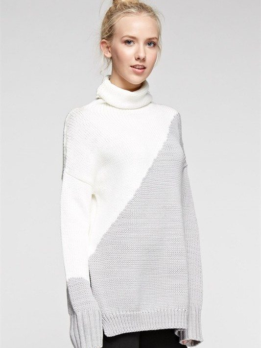 Heather Grey Oversized Turtleneck Sweater