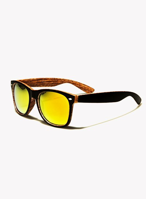 Wooden Pattern Yellow Lens Wayfarer Sunglasses