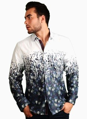 Abstract Print Button Front Shirt