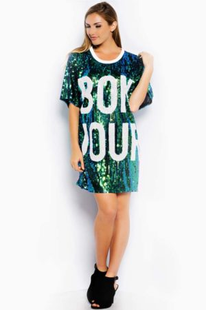 Hot & Delicious Green Bonjour Sequin Dress