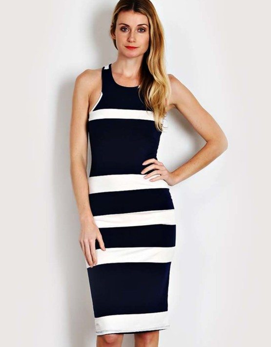 Navy Thick Stripe Knit Bodycon Dress