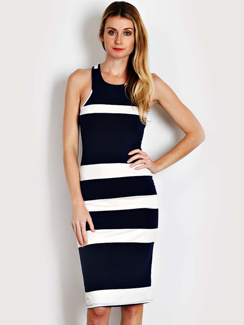 1c42af075ee Navy Thick Stripe Knit Bodycon Dress