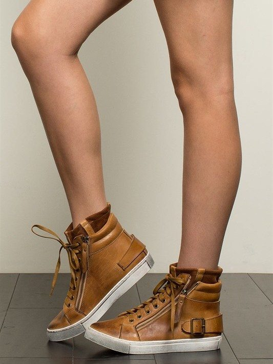 POL Mustard Leather Hi-Top Sneakers