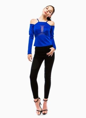 Royal Blue Fitted Off Shoulder Top