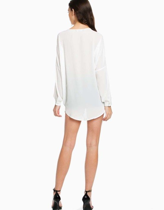 TOV White Deep V Wrap Blouse