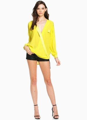TOV Yellow Deep V Wrap Blouse