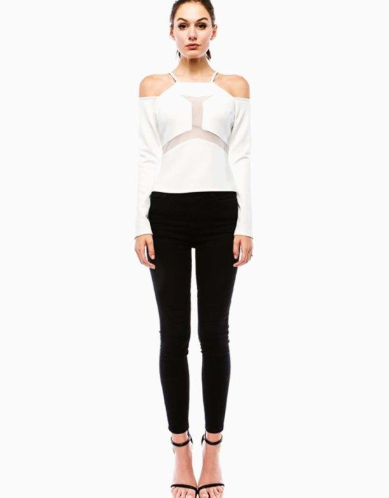 White Fitted Off Shoulder Top