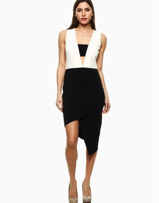 Black Collection Black & White Duo Tone Color Block Sleeveless Dress