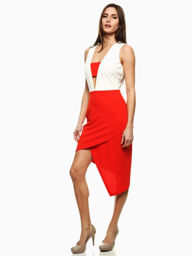 Have a look at this brief and professional dress. This sleek, sleeveless dress offers a concise look at its color block design. It has a round neckline, stretch fabric and seamless detail. The dress has a knee-length hemline and bodycon silhouette. Perfect for casual, work or formal loadingtag.ga: Rosegal.