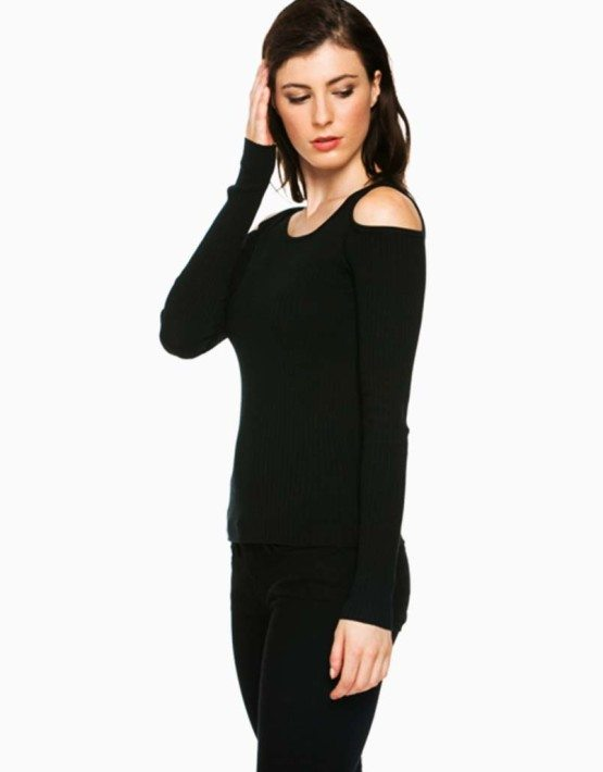 Black Open Shoulder Sweater