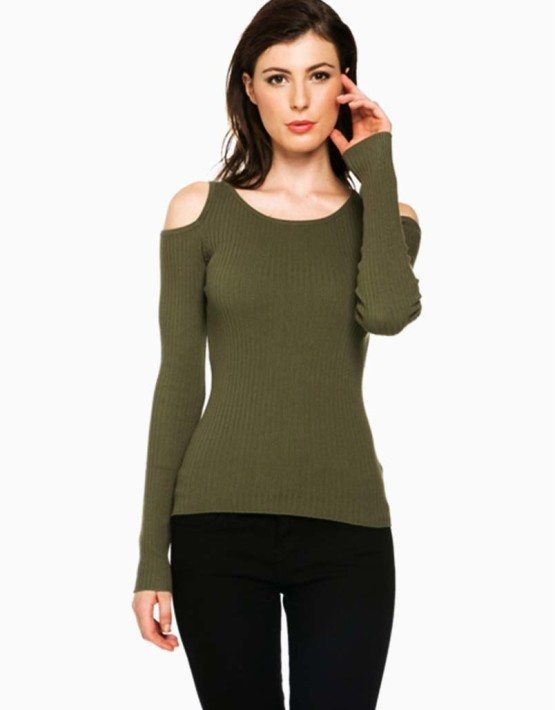 Olive Open Shoulder Sweater