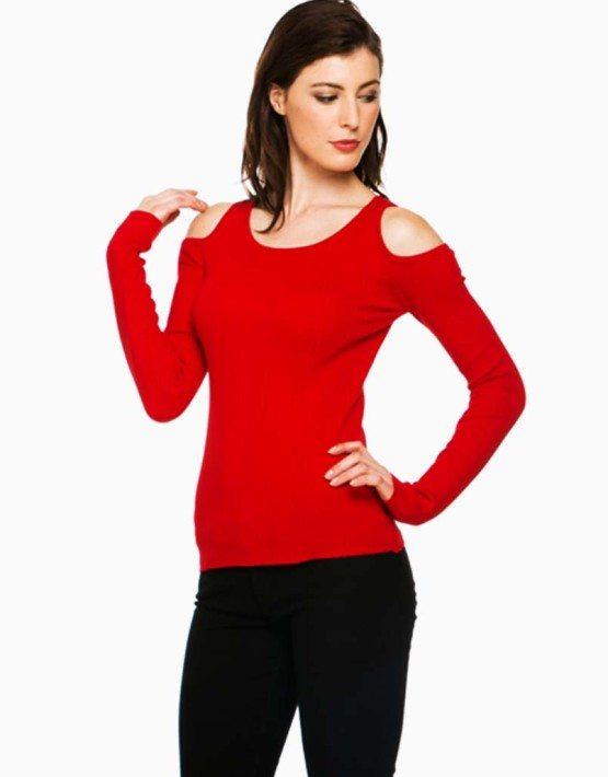 Red Open Shoulder Sweater