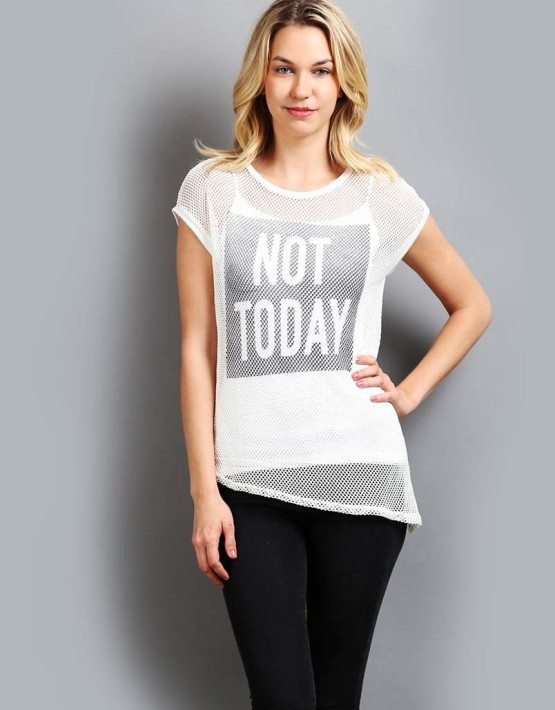"""""""Not Today"""" Fishnet Short Sleeve Top"""