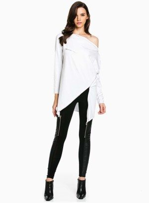 TOV White Asymmetrical Long Sleeve Top