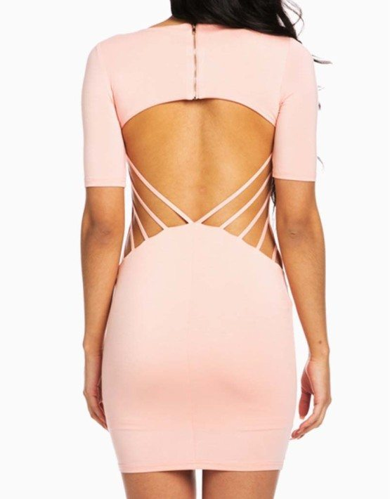 Hera Collection Pink Modal Short Sleeve Mini Dress