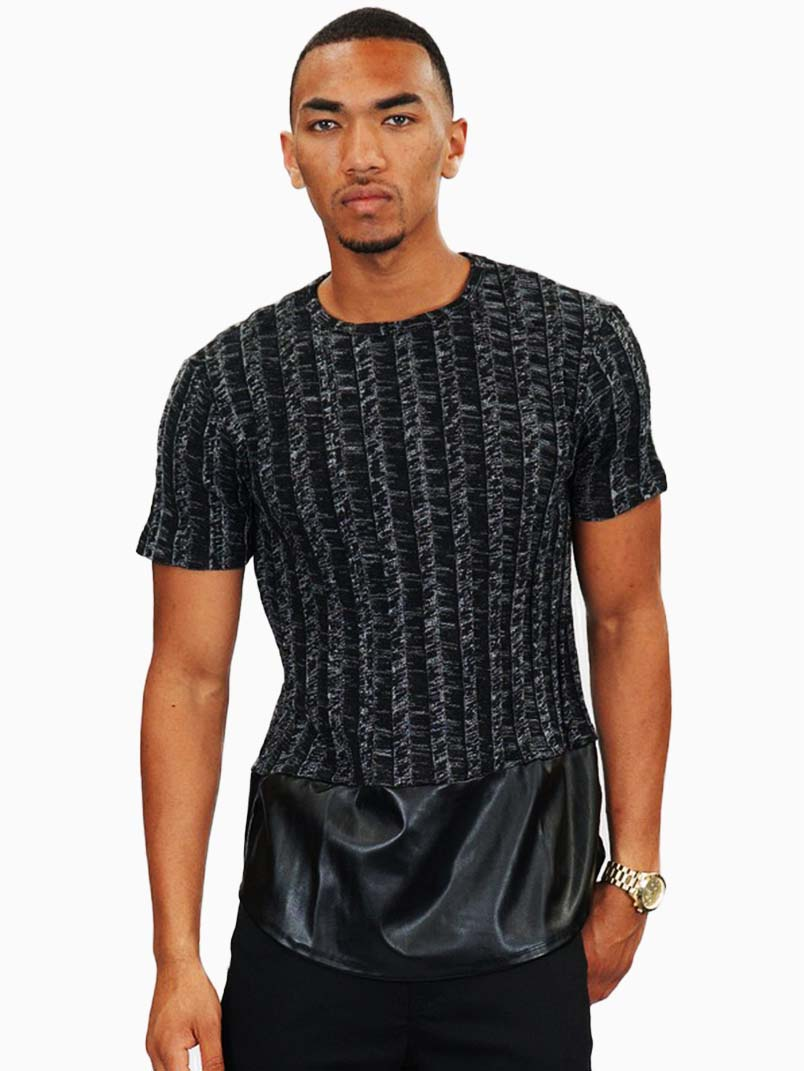 Black knit faux leather short sleeve shirt for Mens shirts with leather