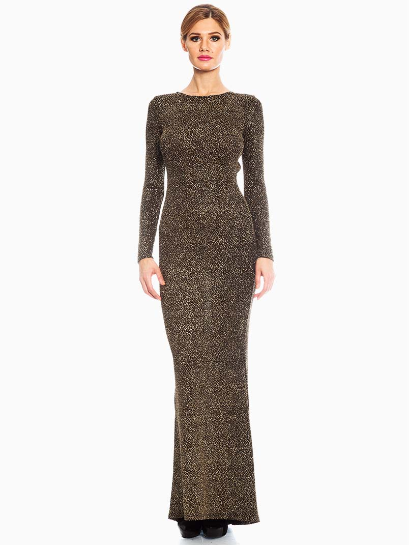 2fe34981935 Red Loft Collection Black Gold Sequin Evening Maxi