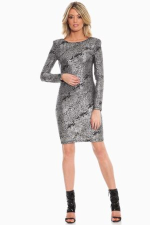 Silver Liquid Cocktail Dress