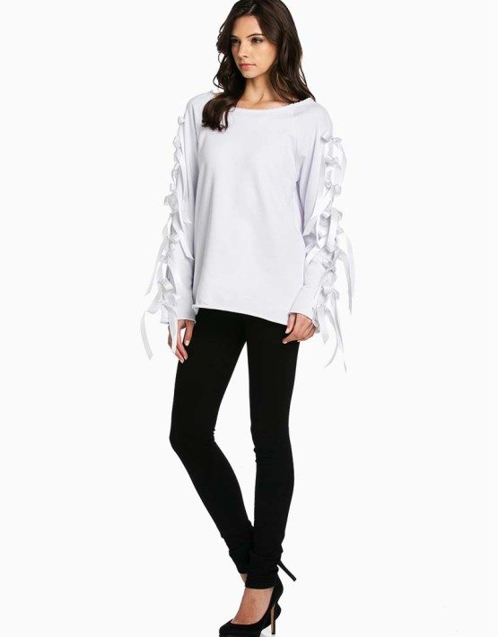 TOV White Arms Tied Top