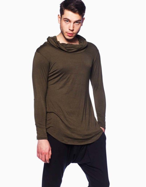 Olive Cowl Neck Shirt