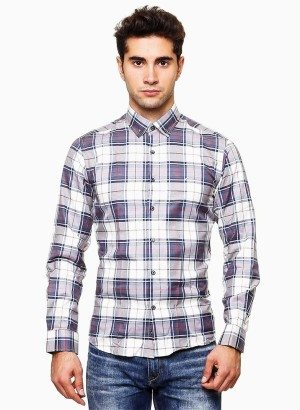 Wessi Violet Plaid Button-Up Shirt
