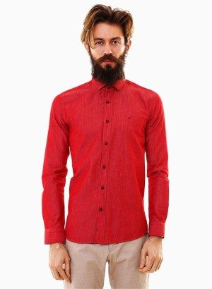 Red Cotton Button-Up Shirt